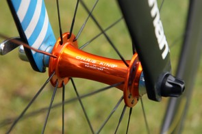 Chris King provides front and rear hubs for the UnitedHealthcare team - and there's little missing them on account of their bright color.