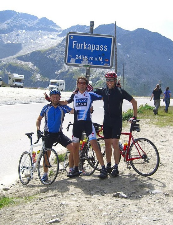Dennis, left, at the summit of Furka Pass in the Swiss Alps