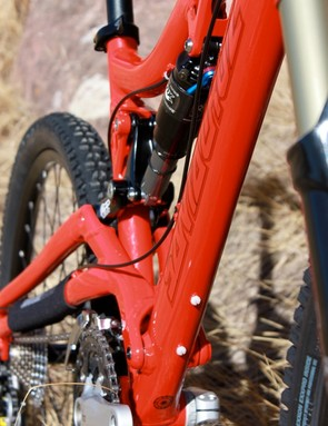 The big single pivot and beefy linkage offer a solid feeling package, especially when leaning the bike over in corners