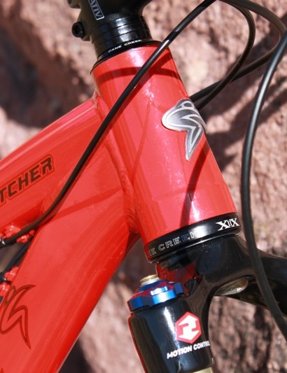 The tapered head tube sets the tone for the bike's stiffness