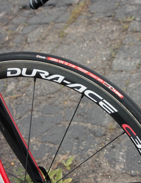 Vittoria Corsa Evo CX tubulars are mounted to 35mm-deep Shimano carbon tubular rims