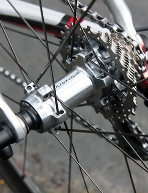 The Shimano Dura-Ace rear hub uses adjustable angular contact bearings