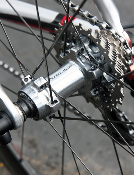 The Shimano Dura-Ace rear hub uses adjustable angular contact bearings