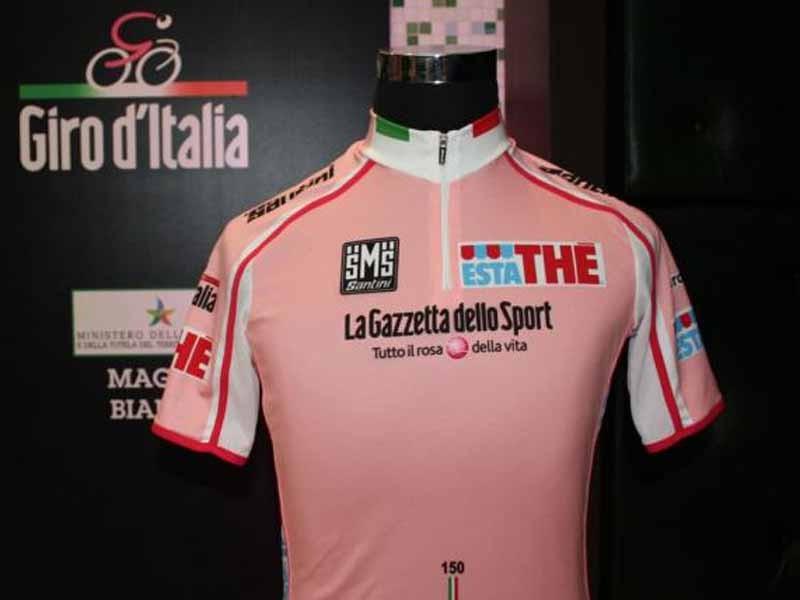 The newly-designed maglia rosa for the 2011 Giro d'Italia.