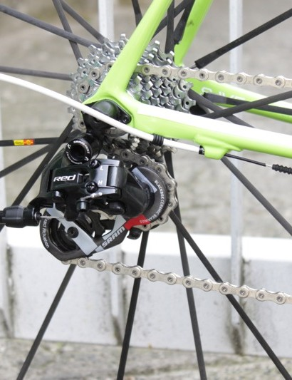 SRAM's new Black Red rear derailleur benefits from GORE's Professional Sealed cable and housing kit; also notice the flat 'Speed Save' chainstay design