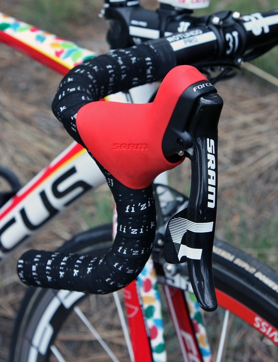 SRAM Force DoubleTap levers are wrapped with bright red hoods
