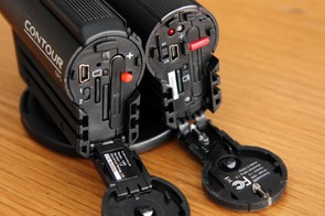 The old ContourHD 1080p (right) used a simple rubber hinge but the newer ContourGPS upgrades to a lockable springed mechanical hinge that feels more secure