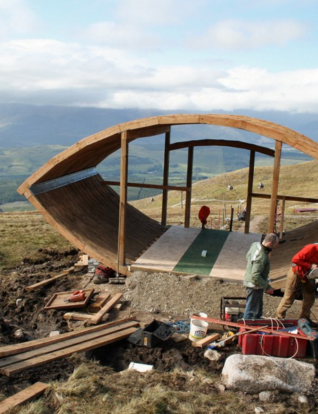 World Cup riders will set off from this new start hut, which was still being constructed earlier today