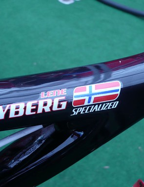 Lene Byberg (Specialized Racing) got her name on her bike.  She raced it to fifth at the Offenburg World Cup after having it for just a few days.