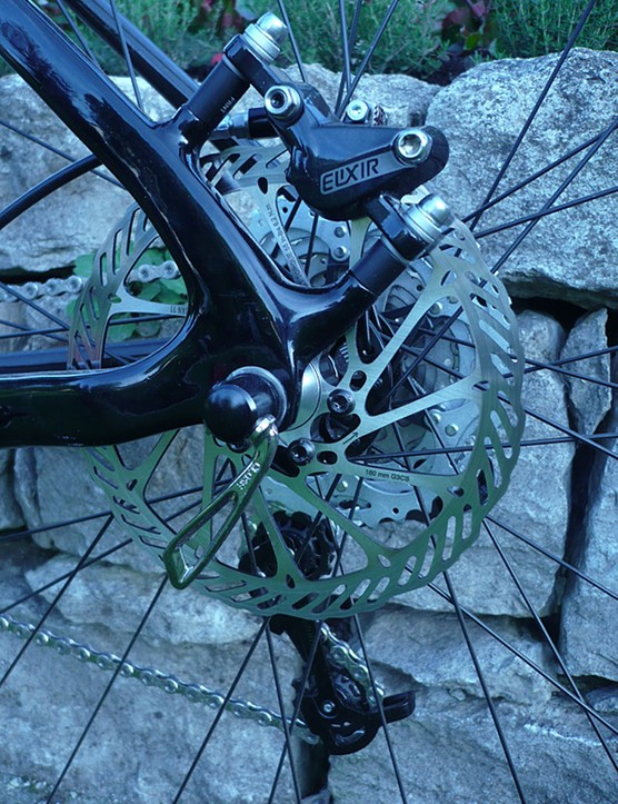 Avid Elixir 5 SL brakes are on the rear of the Specialized Fate Comp.