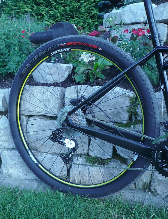 A look at the rear wheel of the Specialized Fate pre-production bike.