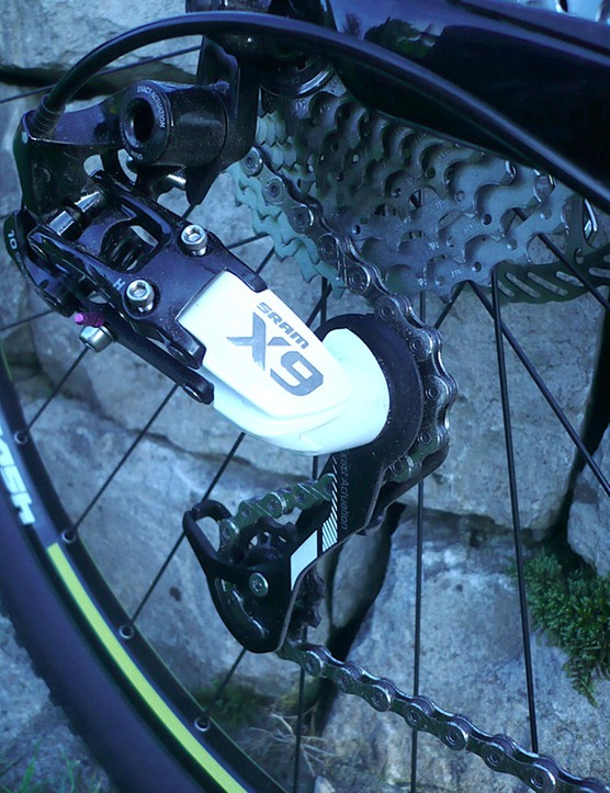 SRAM X9 10-speed rear derailleur on the Specialized Fate Comp.