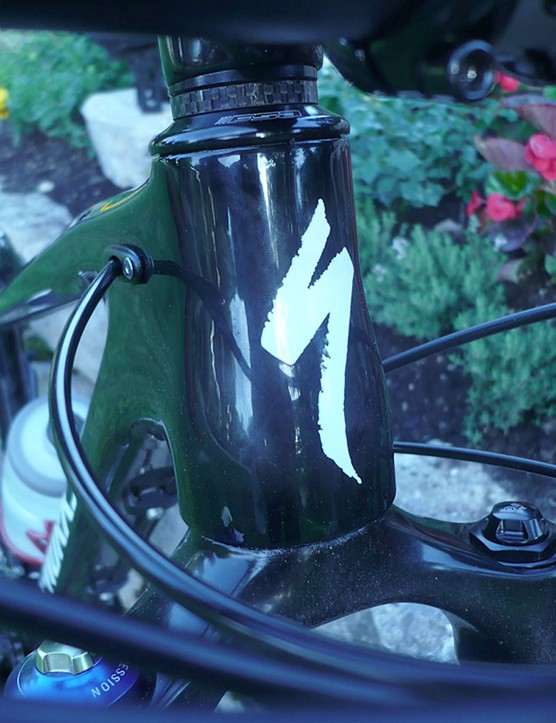 The Specialized Fate head tube tapers.  It is shorter than on the Myka to lower the front end for a more aggressive position.