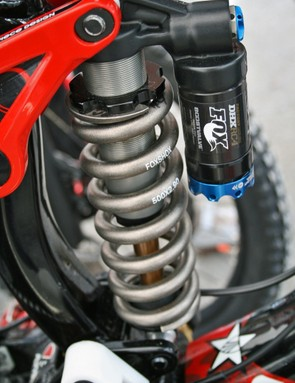 At the heart of the rear suspension is a Fox DHX RC4 shock