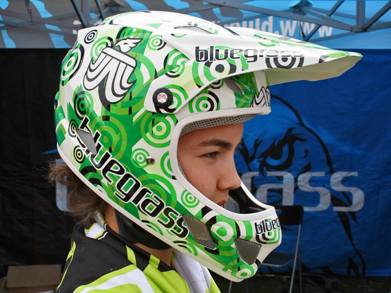 Bluegrass Brave team edition full-face helmet, modelled by junior European downhill champion Fanny Lombard