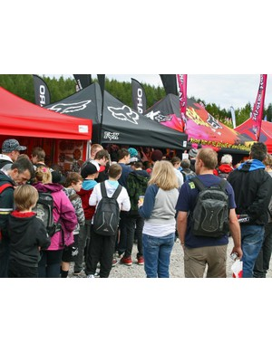 The Fox tent was a hive of activity, with loads of freebies on offer as well as regular rider autograph sessions