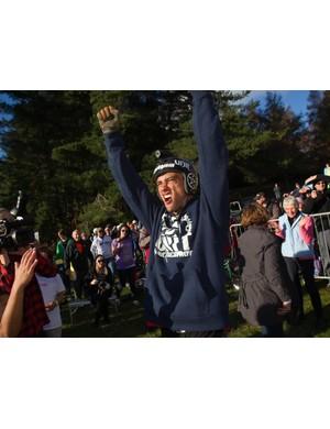 Jed Mildon celebrates his record-breaking jump