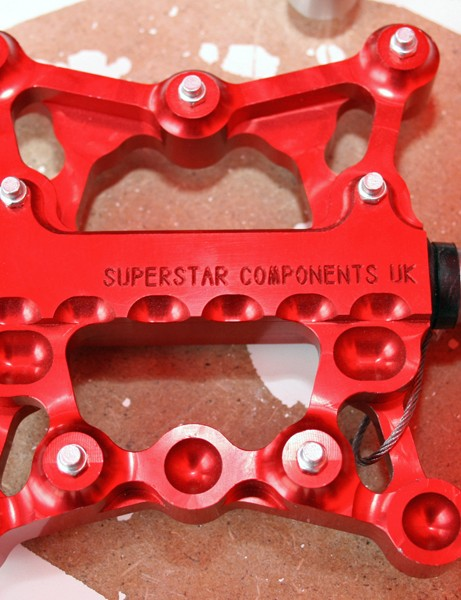 Superstar's new UK-made flat pedal is machined out of solid billet.