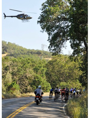 Echelon treats their riders like high profile pros, and even provide a media chopper