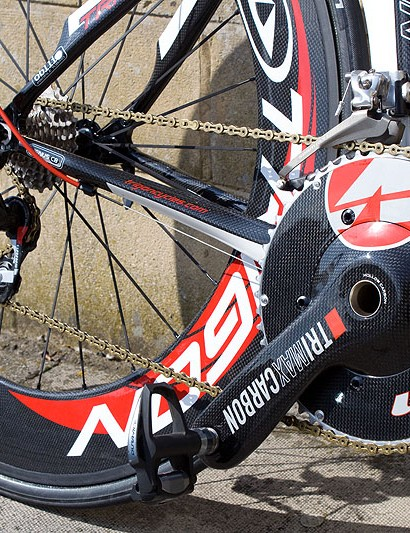 Trigon's own deep-section CWT85 tubular wheels complete this no expense spared full bike build
