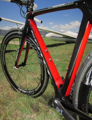 The down tube is unusually broad for an aero road bike