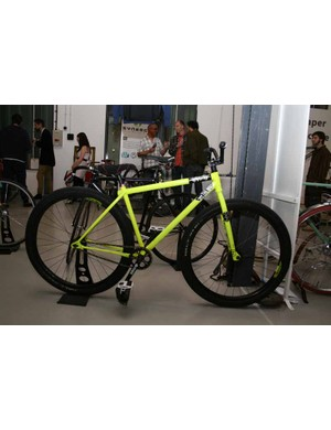 Ted James was showing off his latest fixed-gear trick bike, an evolution of his ESB (Extra Strong Beast) collaboration with 14 Bike Co