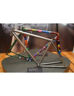 Another highlight of the Enigma stand was this superlight, externally butted prototype titanium frame, claimed to weigh just 850g