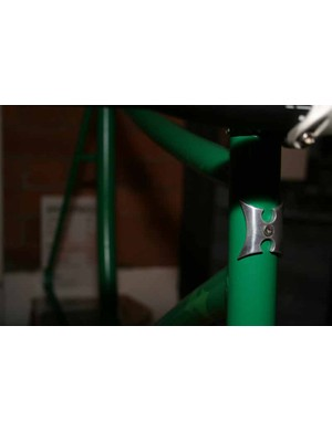 Hammoon's latest project is this green track bike, which is a bit of a showcase for tube bending