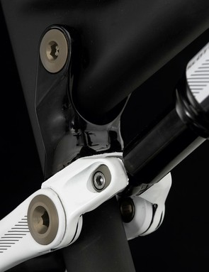 The 'chip' link shock mount offers half a degree of head angle adjustment and 7mm of bottom bracket adjustment