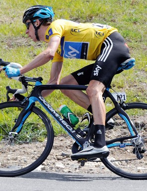 Brad Wiggins rides in yellow during the final stage of the Criterium du Dauphine