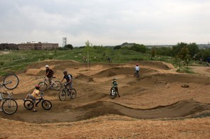 The larger of the two pump tracks on the park's premises