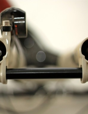 Looking down the barrel of the Hollow Bottom lowers reveals the negative air chamber and rebound adjuster