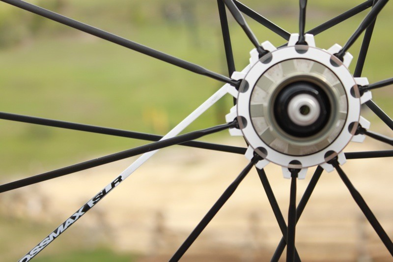 Mavic's 'Isopulse' radial drive-side lacing pattern is said to offer 2mm more width to the hub's flange spacing and better balance spoke tension side to side
