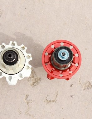 The new SLR rear hub (left) features a noticeably different drive-side flange