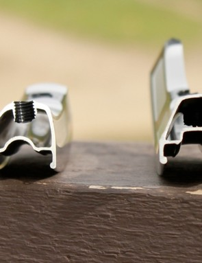 A look at the new wider, rounder, and claimed stiffer rime extrusion (left) as compared to the current version