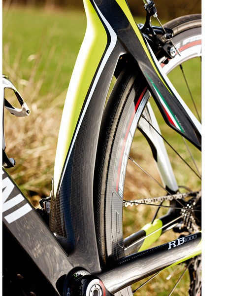 The aero seat tube and winged chainstays cut through the air