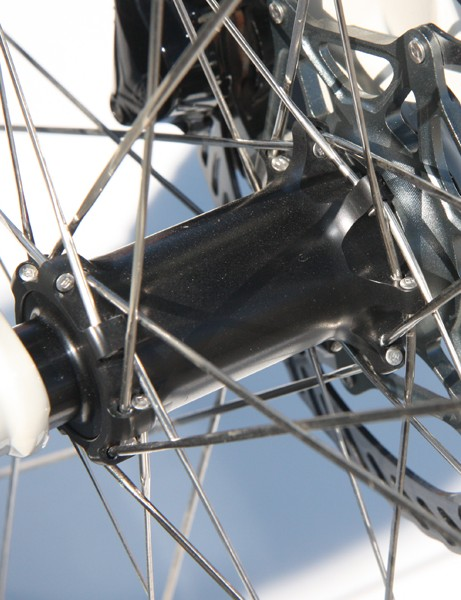 Subaru-Trek team bikes are outfitted with prototype Bontrager hubs that feature oversized shells,