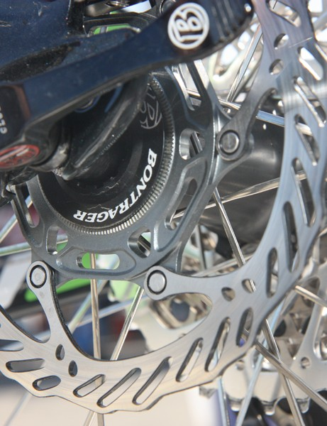 The prototype Bontrager hubs on Emily Batty's Subaru-Trek team bike use Center Lock rotor mounts
