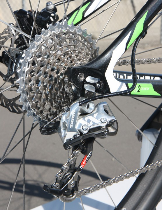 The SRAM XX rear derailleur moves the chain across an 11-36T SRAM XX cassette