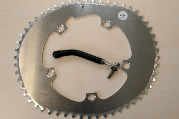 A 54 tooth Osymetric chainring, complete with chain catcher