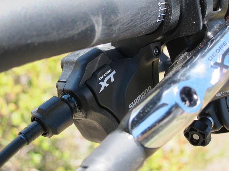 Optical gear indicators are removable on the new Shimano Deore XT shifters, which will be offered in both separate and integrated versions depending on your preferences. Either way, just a flick of a switch is required to convert the left-hand shifter for use on two-ring or three-ring drivetrains
