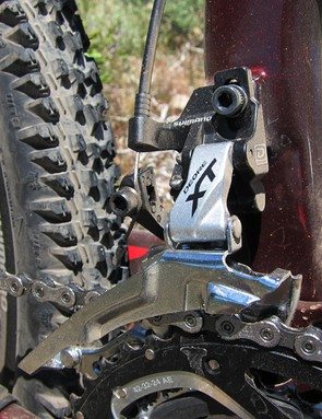Both two-ring and three-ring-specific Shimano Deore XT front derailleurs will be offered in four different fitments: high direct-mount, E-Type, and both traditional high- and low-clamp models
