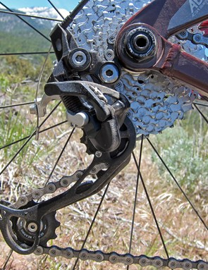The new Shimano Deore XT rear derailleur again uses the company's low-profile Shadow design and as expected, faithfully rattles off precise and accurate shifts. We did experience a fair bit of chain movement on rougher terrain, though - something we hope will eventually be remedied with a Shadow Plus version