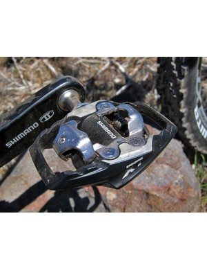 Shimano have replaced the previous Deore XT SPD clipless pedal with two different versions as with XTR: a slimmer and lighter Race version that features additional surface contact area and better mud clearance along with this Trail variant with sizeable (and durable) alloy platform to better support softer-soled shoes