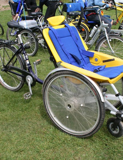 The wheelchair/bike combo cycle has a power-assisted option