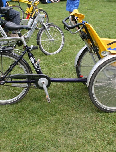The bike is powered by a cyclist at the rear, enabling those who normally wouldn't be able to experience cycling to do so
