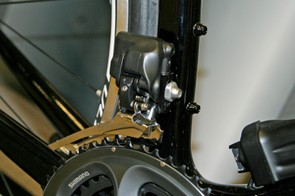 The Ultegra Di2 front derailleur includes the same auto-trim feature as Dura-Ace Di2