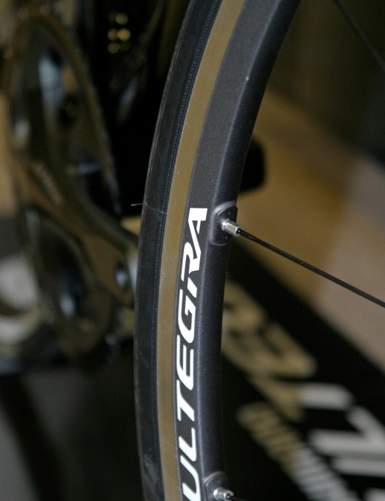 Ultegra extras like wheels and pedals get the glossy grey treatement for 2012