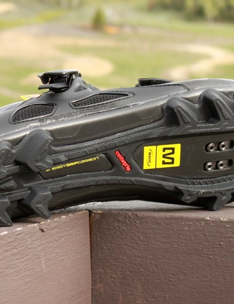 Mavic's Contagrip rubber tread is the best we've used on light weight racing shoes; it grips and wears well and the shape does a great job funneling cleat to pedal