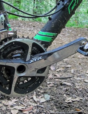 The three-ring Shimano XTR drivetrain is a good match for the Blur TRc's fantastic uphill and downhill capabilities